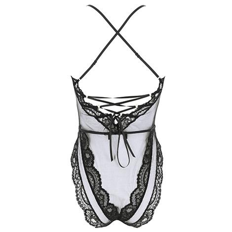 لباس خواب توری بادی رنگ مشکی مدل Lise Charmel